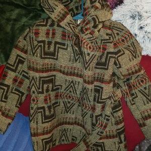 Aztec style full collar/hood winter coat